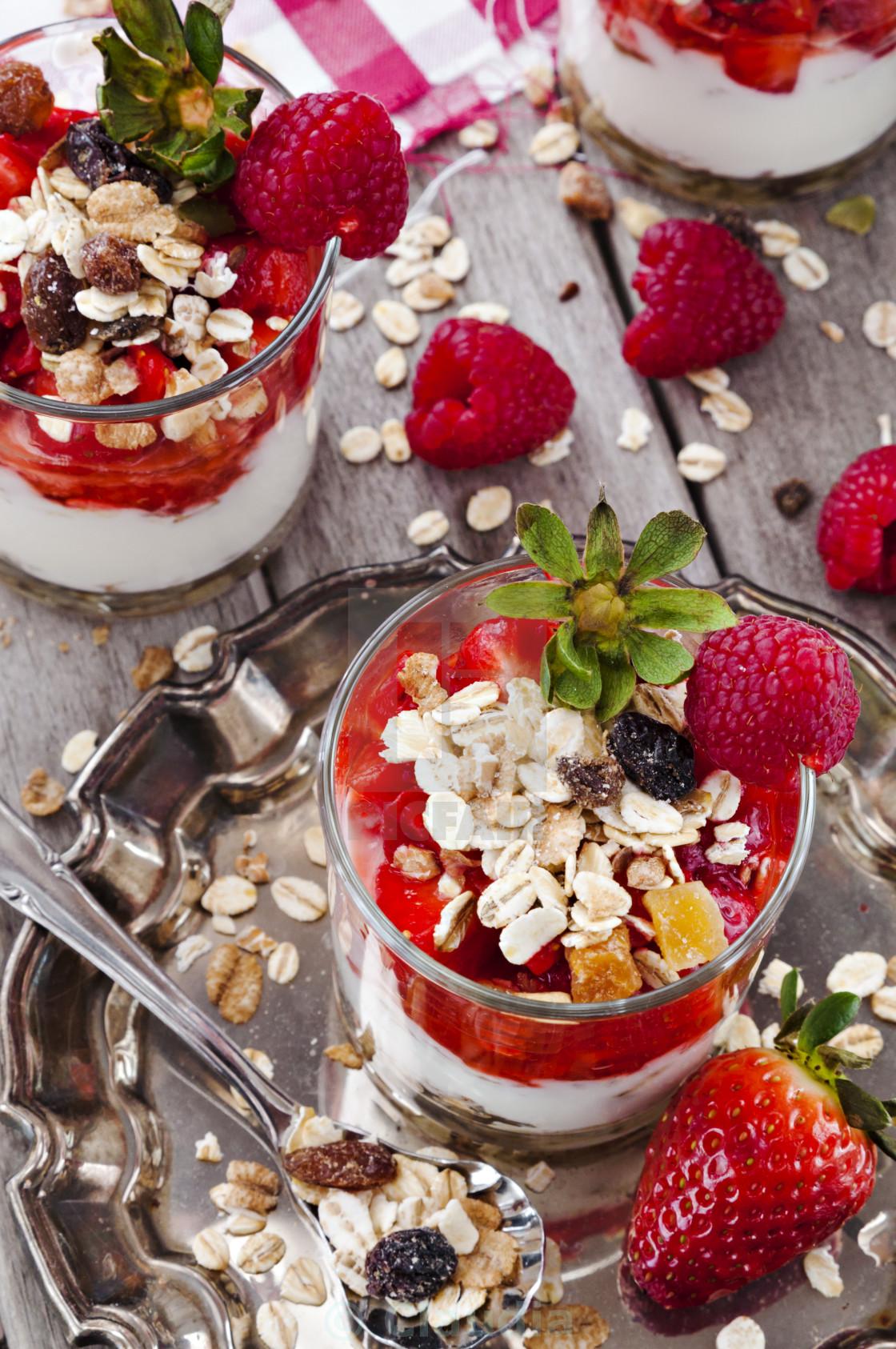 """""""Yogurt with strawberries and raspberries"""" stock image"""