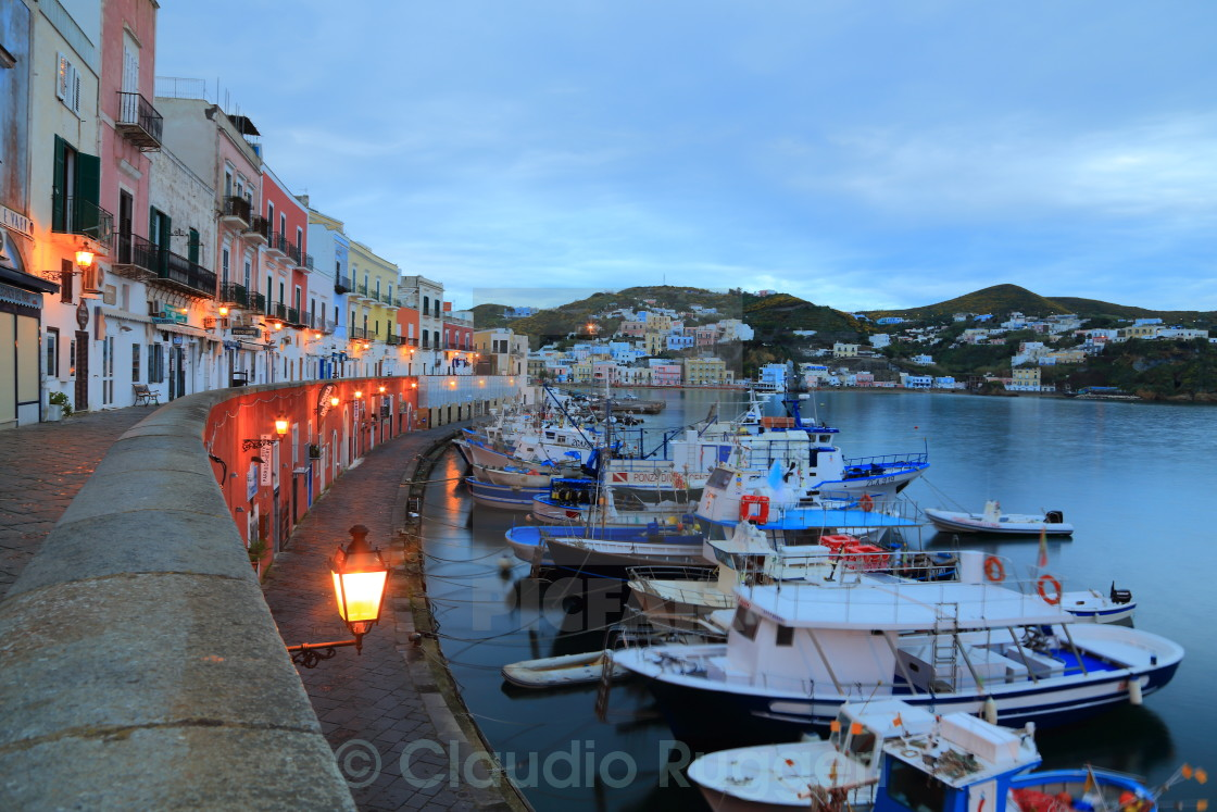 """""""The colorful houses in the Ponza's harbour"""" stock image"""