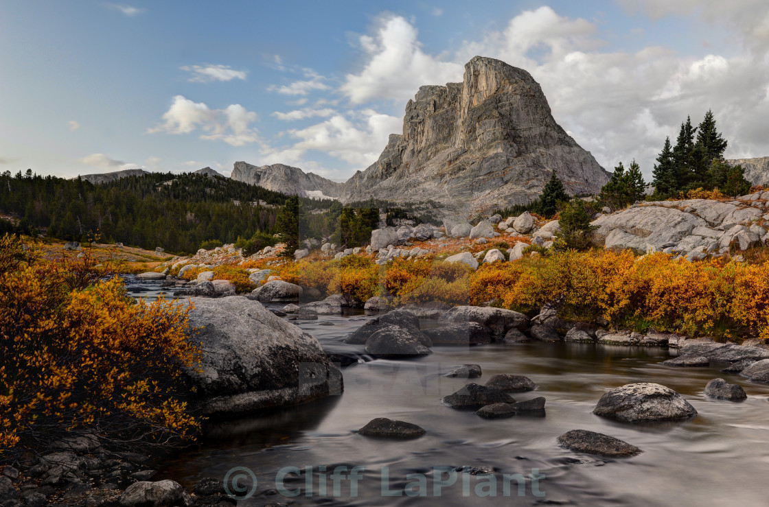 """Buffalo Head and the Little Wind River"" stock image"