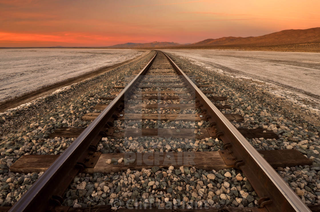 """Train Tracks Through the Mojave Desert"" stock image"