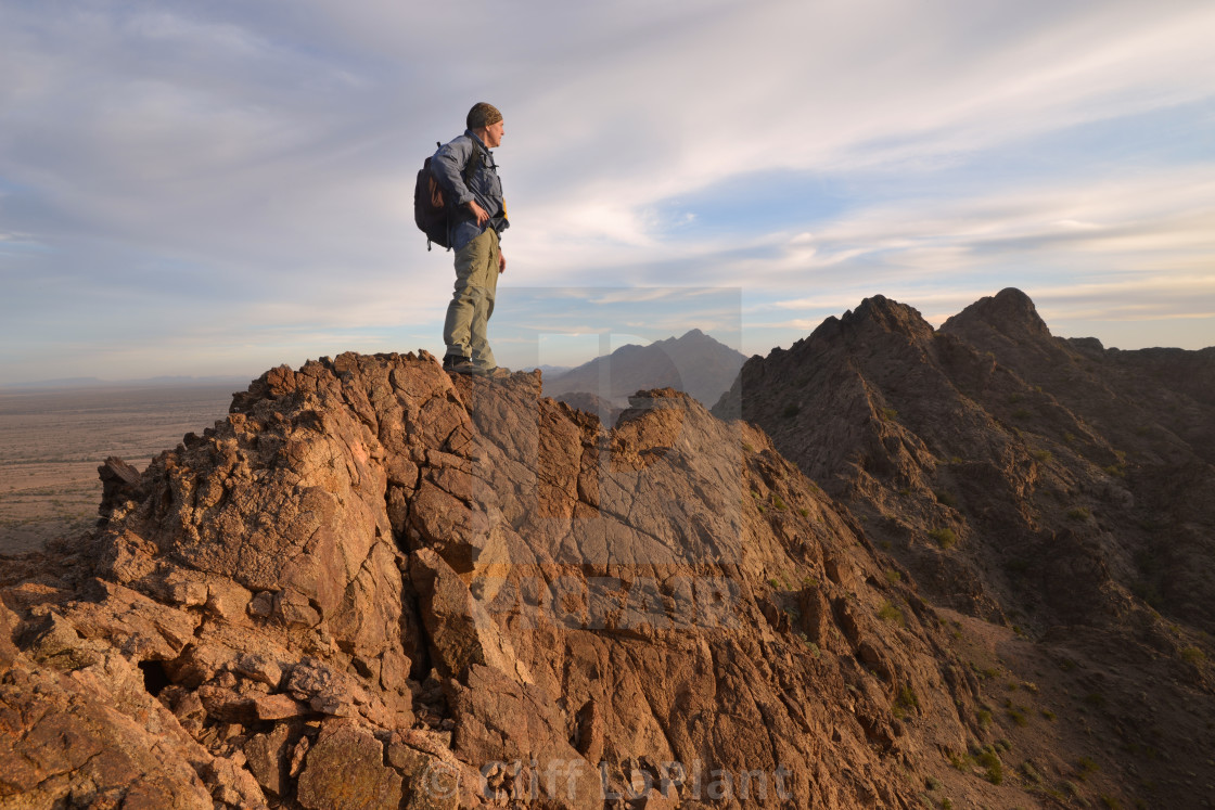 """Hiker Atop the Mohawk Mountains"" stock image"