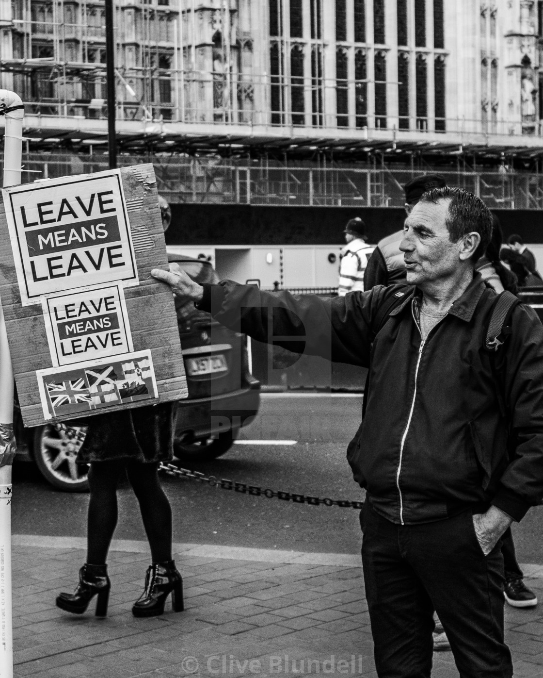 """""""Leave Means Leave"""" stock image"""