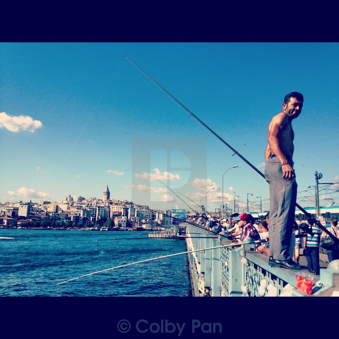 """Fishing on the Bosphorus"" stock image"