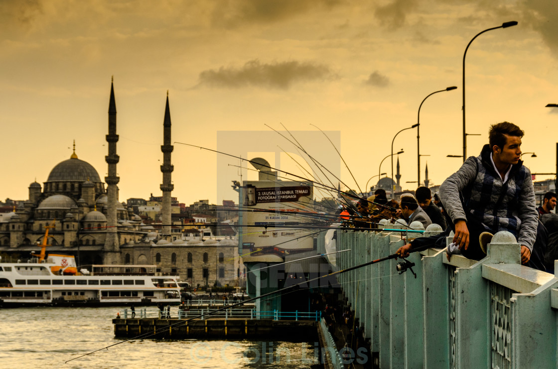 """Fishermen On Galata Bridge"" stock image"