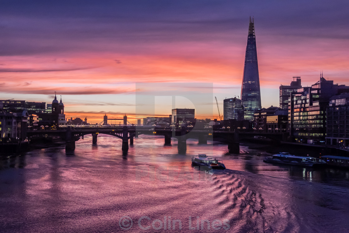 """The River Thames And Shard."" stock image"