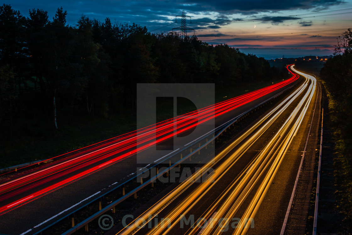 """""""A69 Light Trails, Northumberland"""" stock image"""
