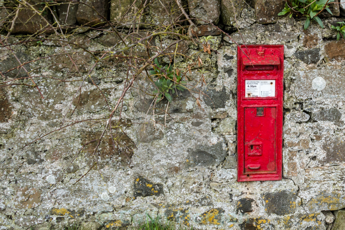 """Royal Mail Post Box in a Wall"" stock image"