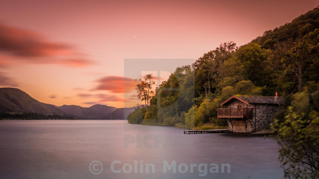 """""""Duke of Portland Boathouse Sunset, Ullswater"""" stock image"""