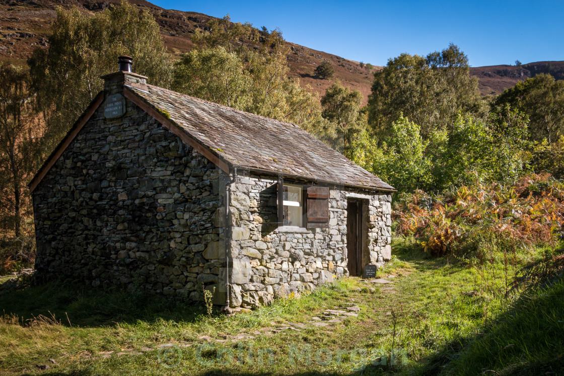 """Bark House Mountain base hut, Derwent Water"" stock image"