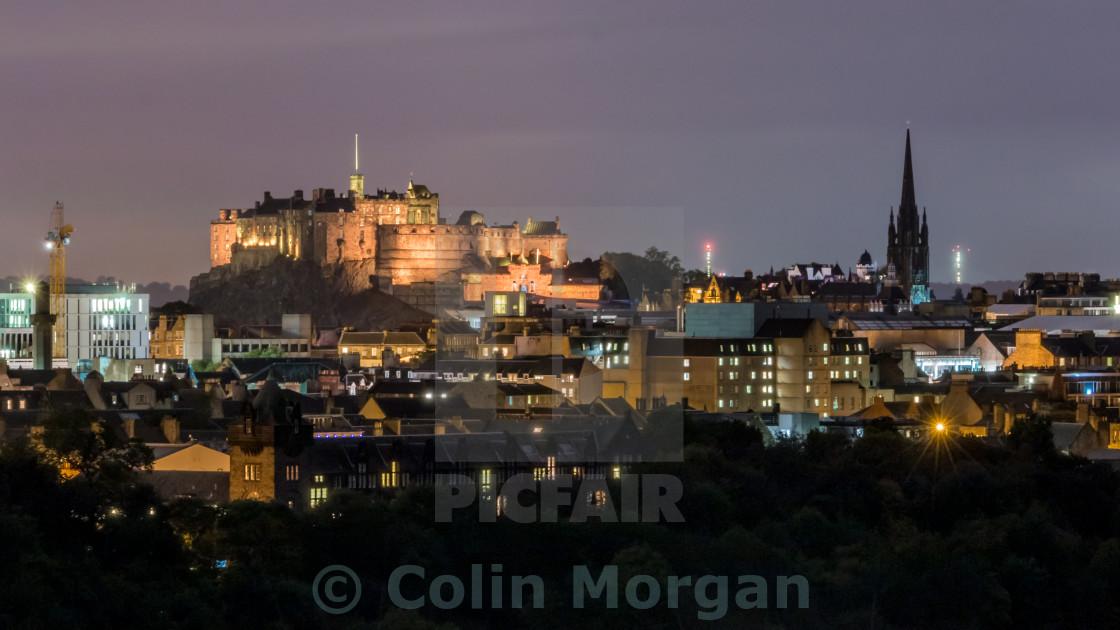 """Edinburgh Castle at Night"" stock image"