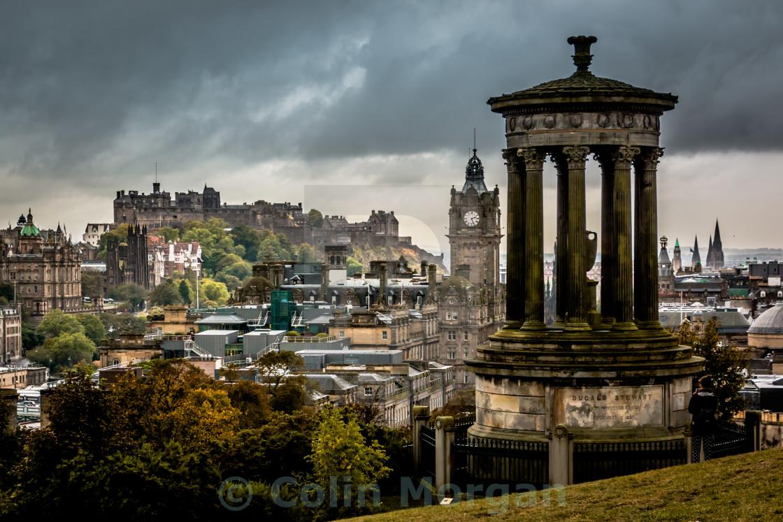 """Edinburgh Castle from Calton Hill"" stock image"