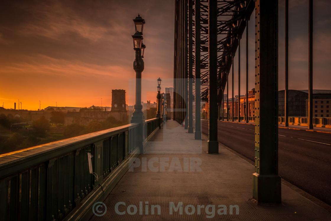 """""""Tyne Bridge Glow"""" stock image"""