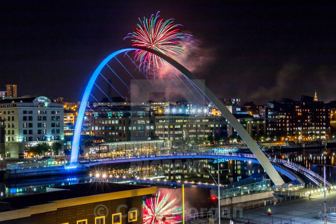 """Millennium Bridge Fireworks"" stock image"