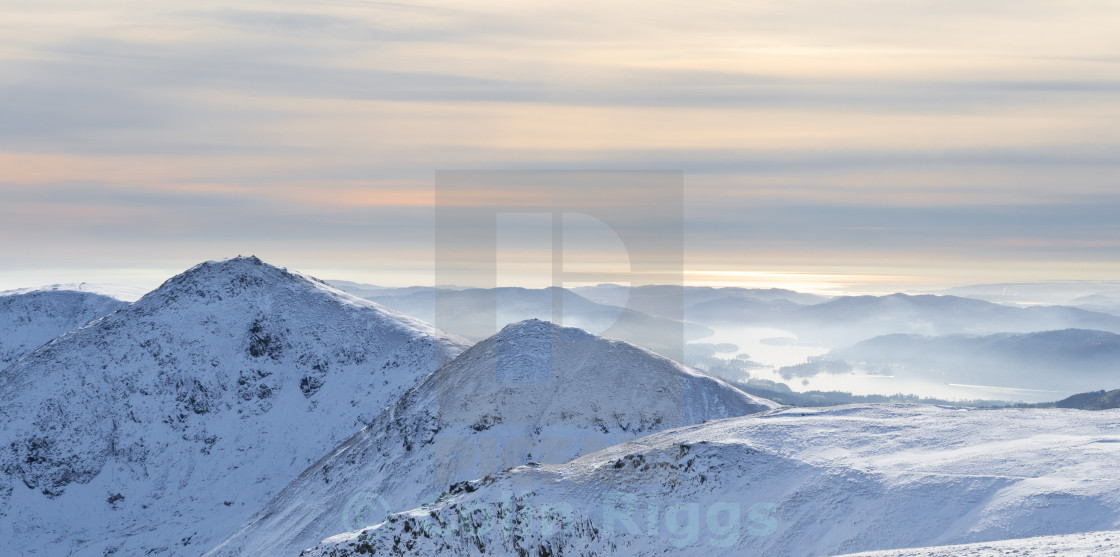 """Winter light over Windermere"" stock image"