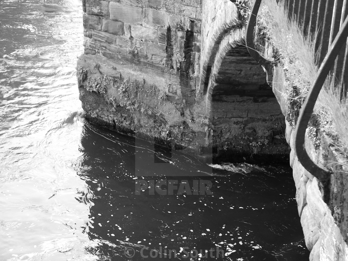 """""""Arch detail, Old Dee Bridge, Chester."""" stock image"""