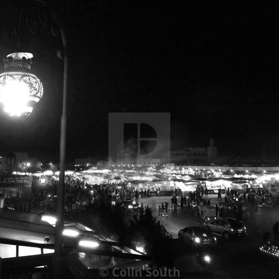 """The Night Market, Marrakech"" stock image"