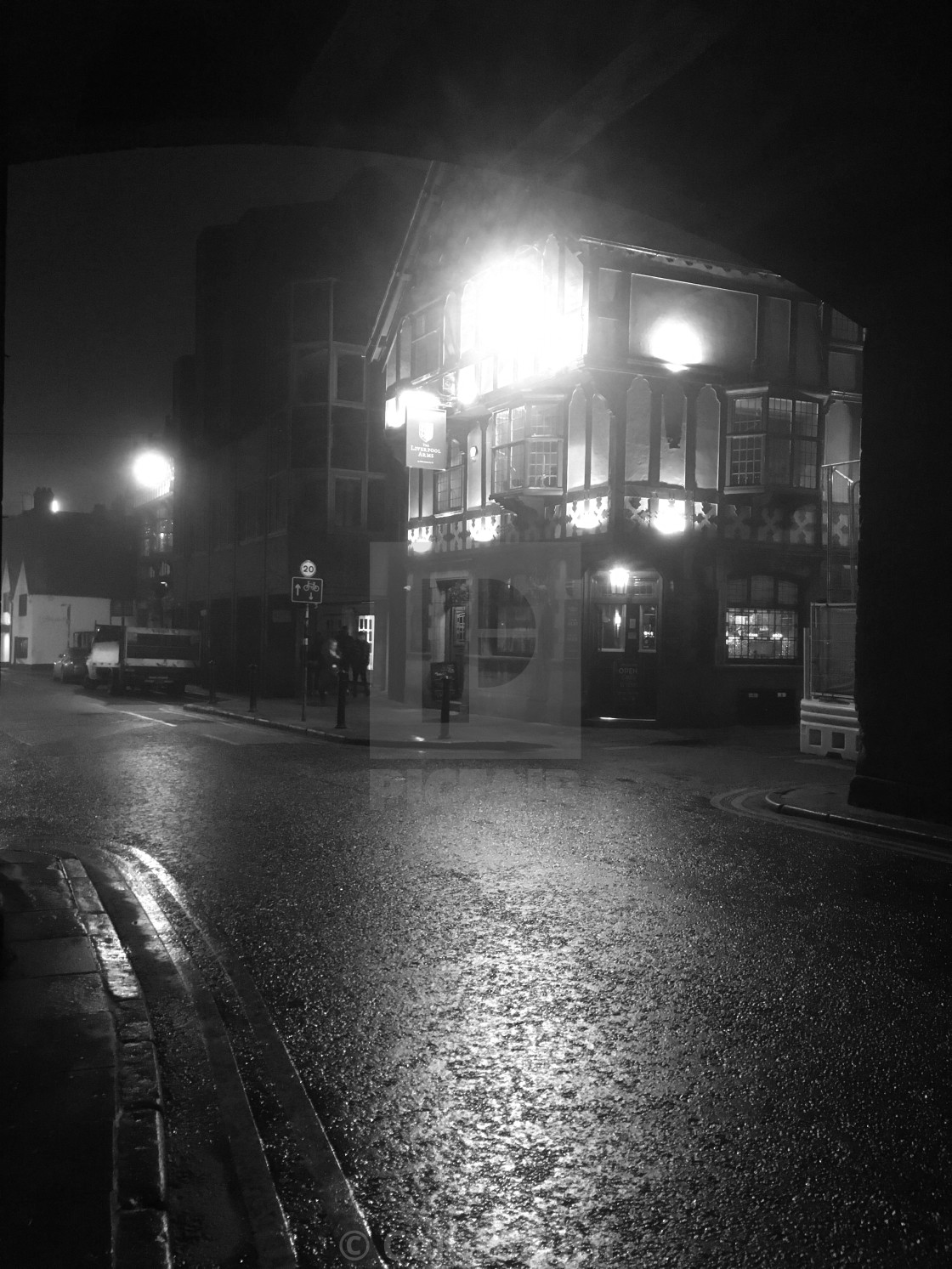 """""""The Liverpool Arms in the mist"""" stock image"""