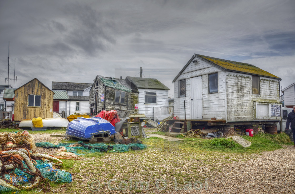 """Fishermens cottages, Felixstowe"" stock image"