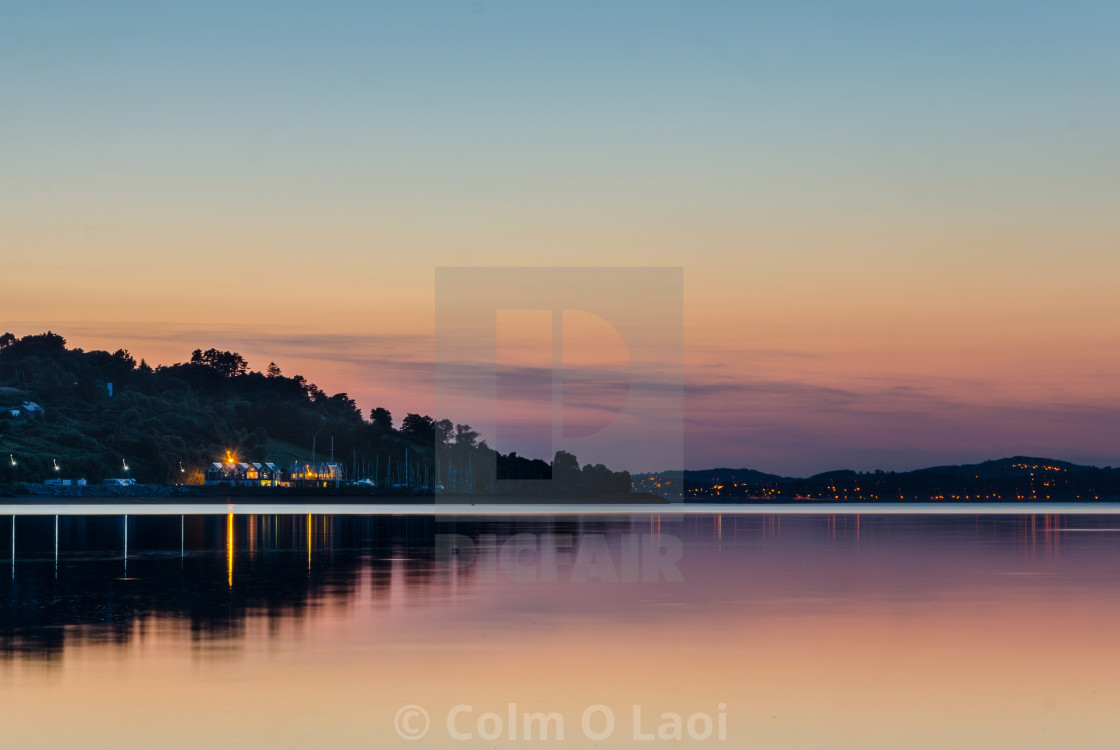 """A calm night on the Lough"" stock image"