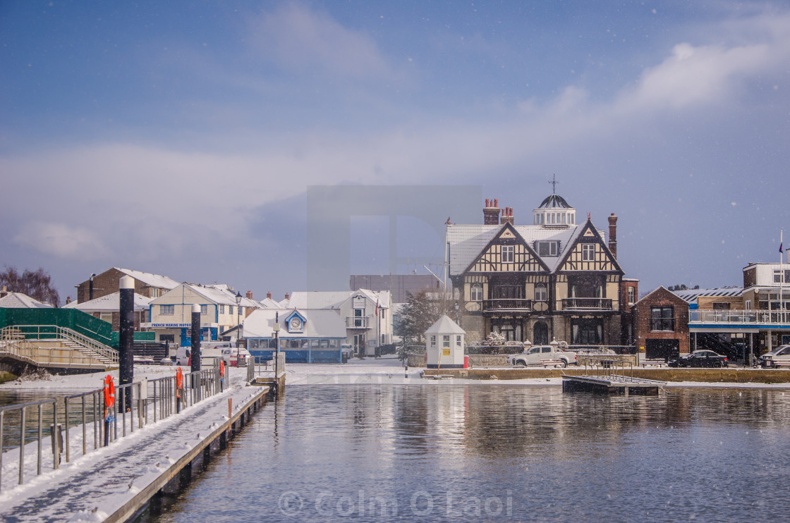"""Snow in the harbour"" stock image"