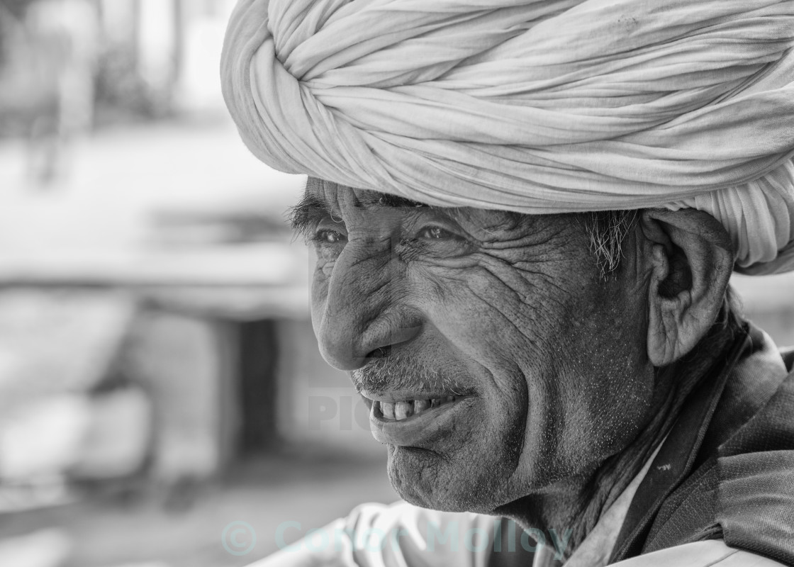 """Portrait of an Indian Man wearing turban"" stock image"