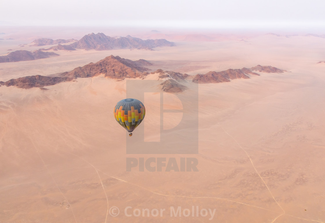 Hot air balloon over the Namib desert