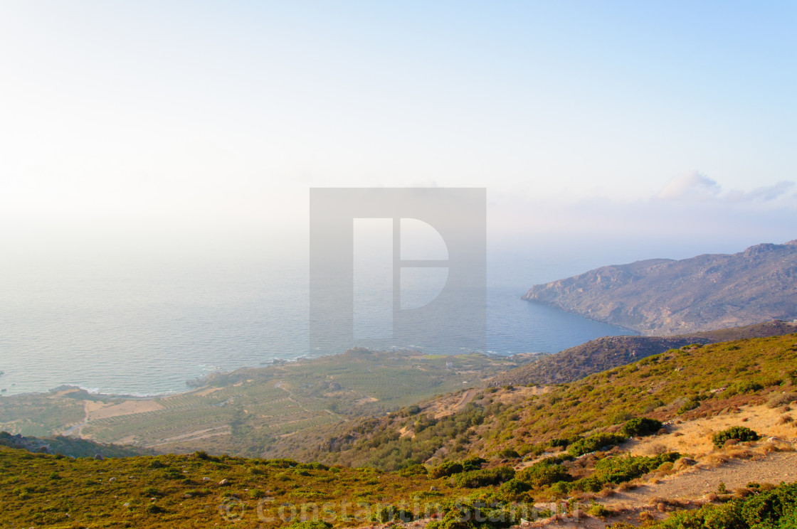"""Wide view of a Cretan landscape, island of Crete, Greece"" stock image"