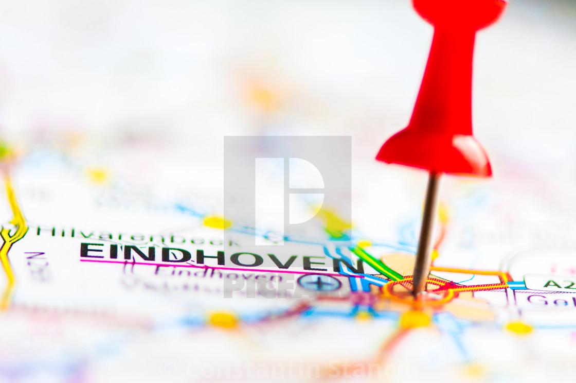 Close-up shot over Eindhoven City On Map, Netherlands ...