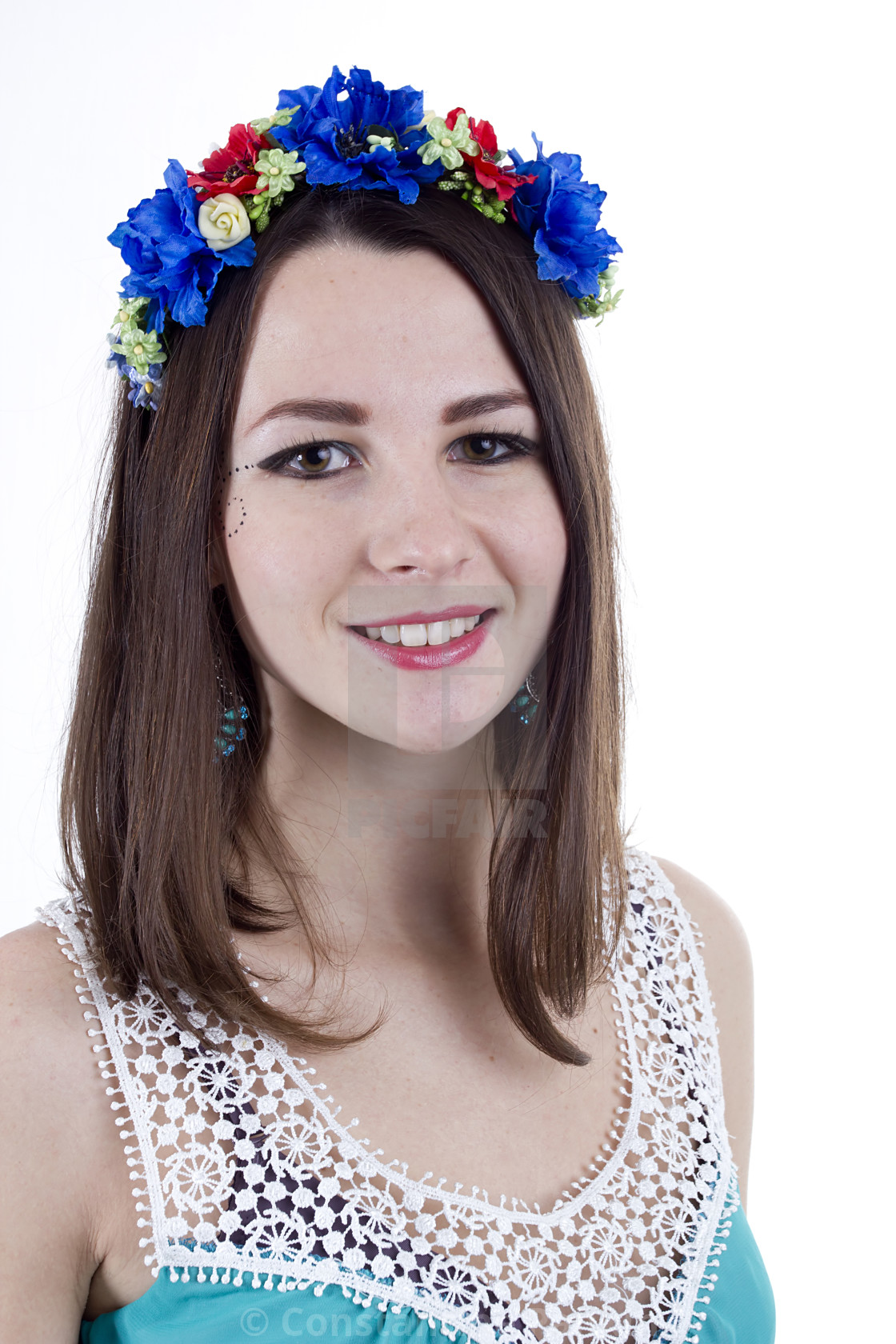 Young beautiful woman with flower wreath on head license for 372 young beautiful woman with flower wreath on head stock image izmirmasajfo