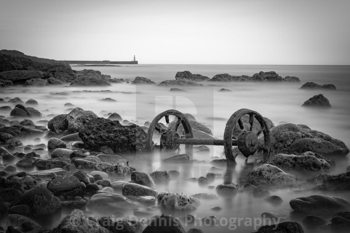 """Wheels - Chemical Beach Seaham"" stock image"