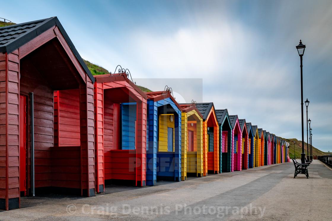 """Beach Huts - Saltburn by the Sea"" stock image"