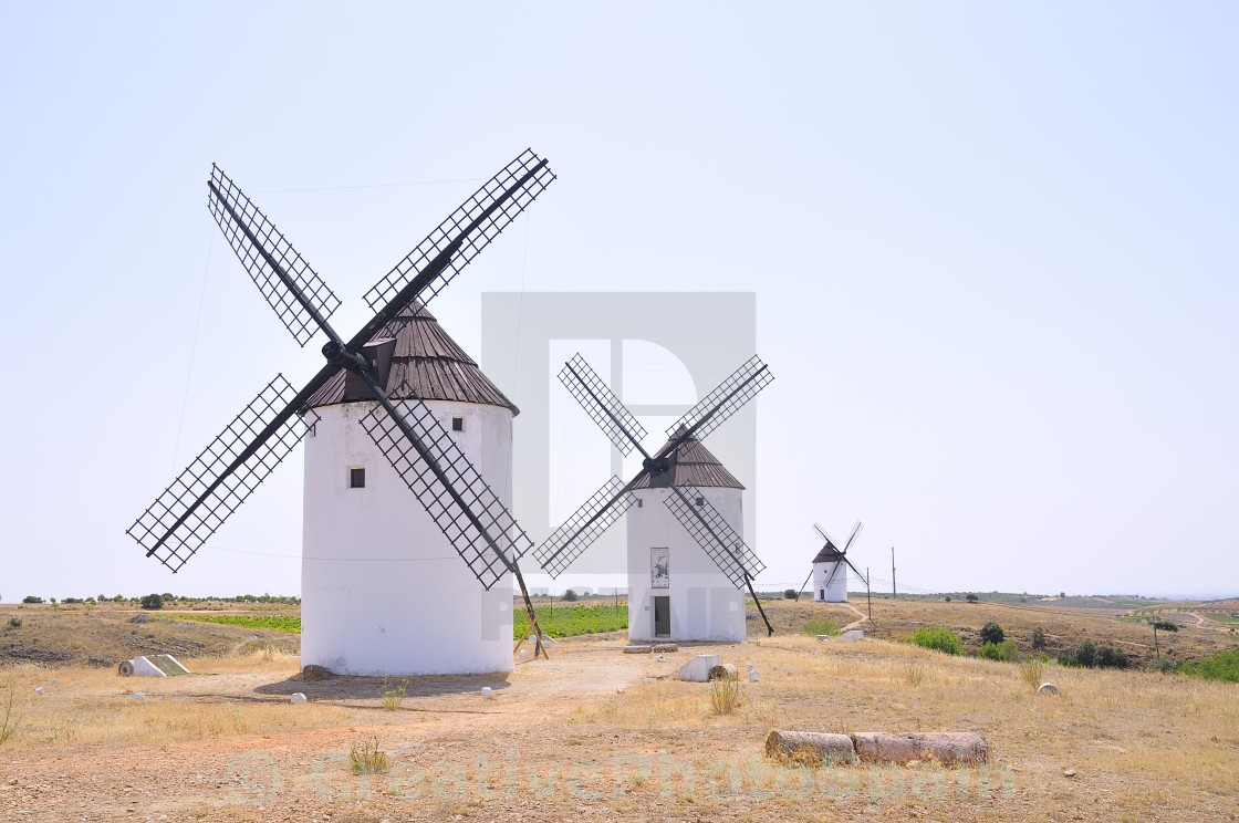 """View on three windmills at field"" stock image"