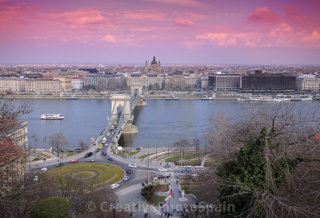 """Chain bridge on Danube river in Budapest city in Hungary."" stock image"