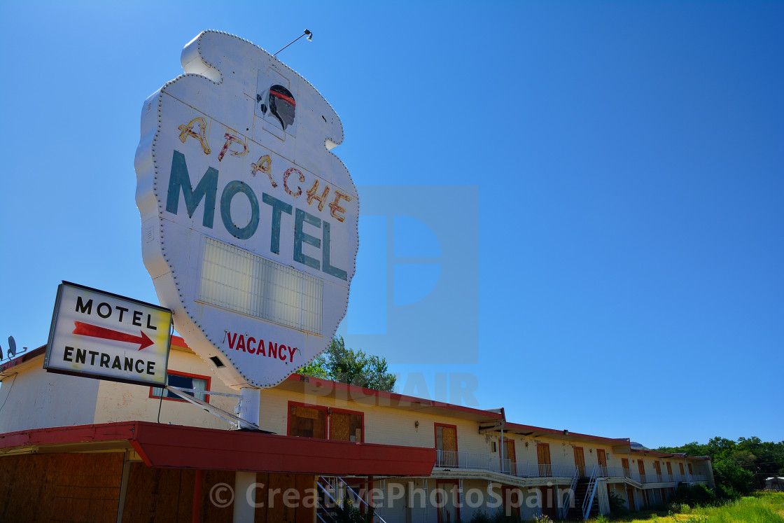 """Apache Motel on Historic Route 66."" stock image"