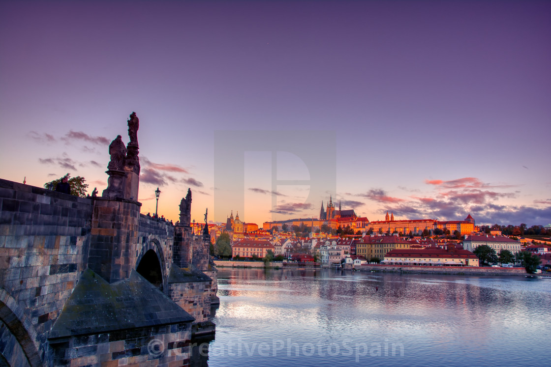 """Scenic view on Vltava river and historical center of Prague."" stock image"