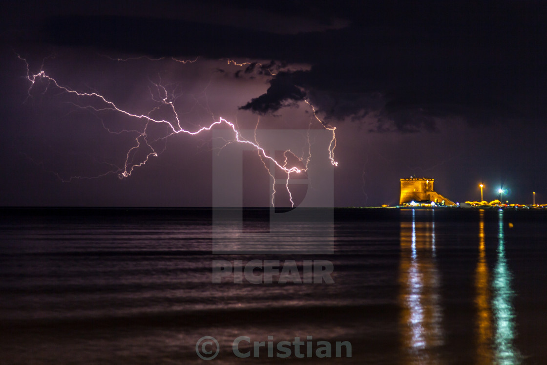 """Lightning over the sea"" stock image"
