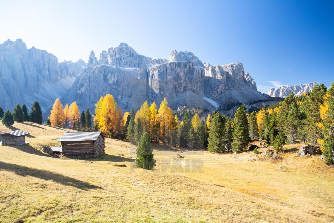 """""""Gruppo Del Sella In Autumn"""" stock image"""