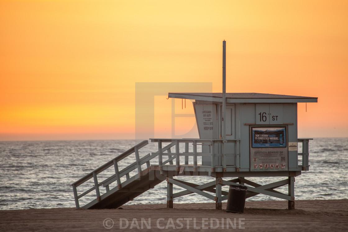 """""""Venice Beach Lifeguard Hut At Sunset"""" stock image"""