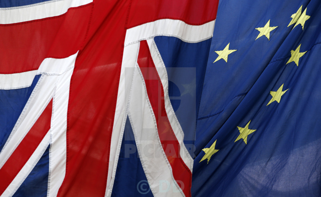 """Union and EU Flags fly together"" stock image"