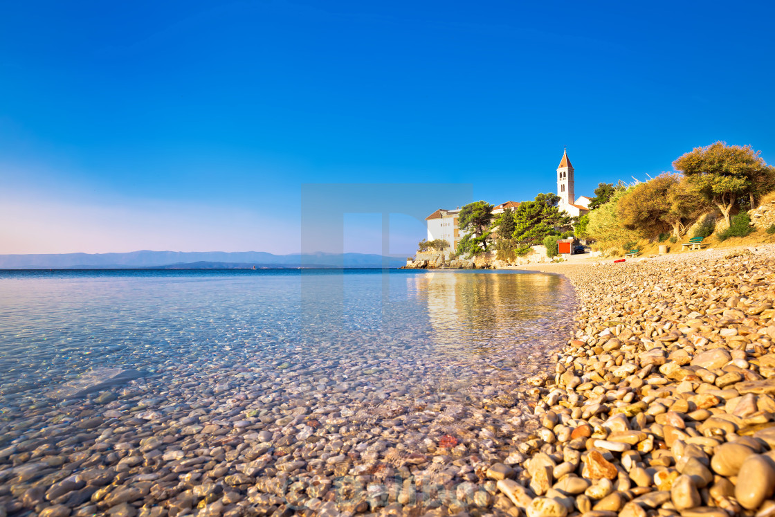 """Monastery on pebble beach in Bol"" stock image"