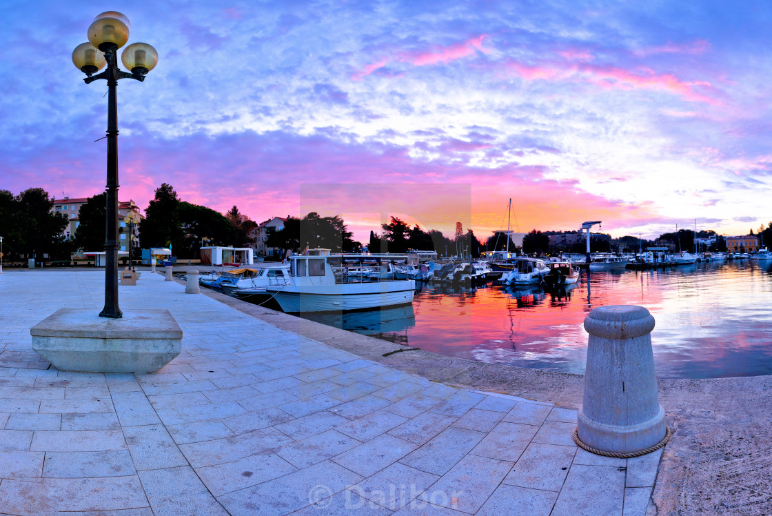 """Town of Porec morning sunrise panoramic view from pier"" stock image"