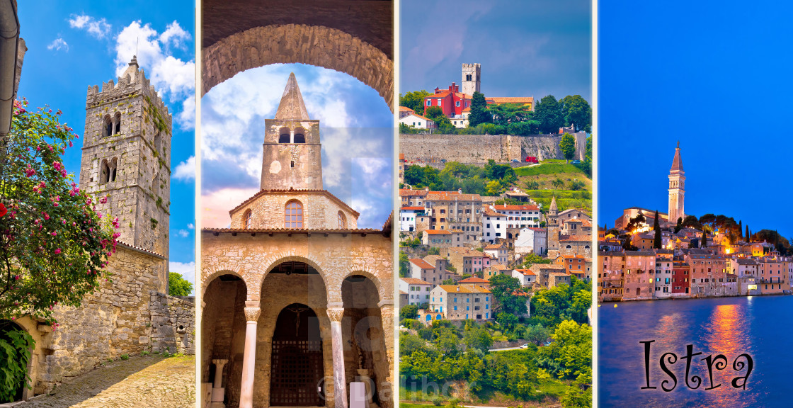 """Istria peninsula tourist destination multiple photos collage postcard with label"" stock image"
