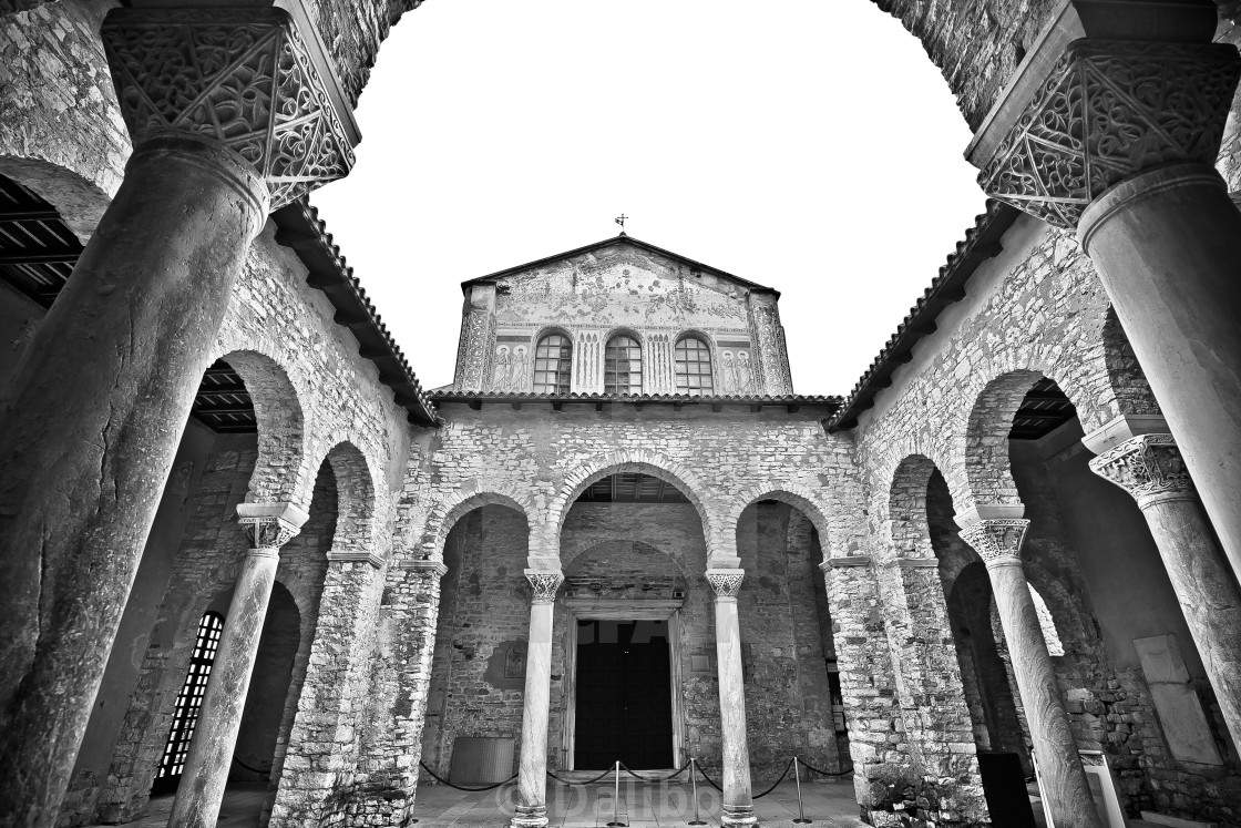 """Euphrasian Basilica in Porec arcades black and white view"" stock image"