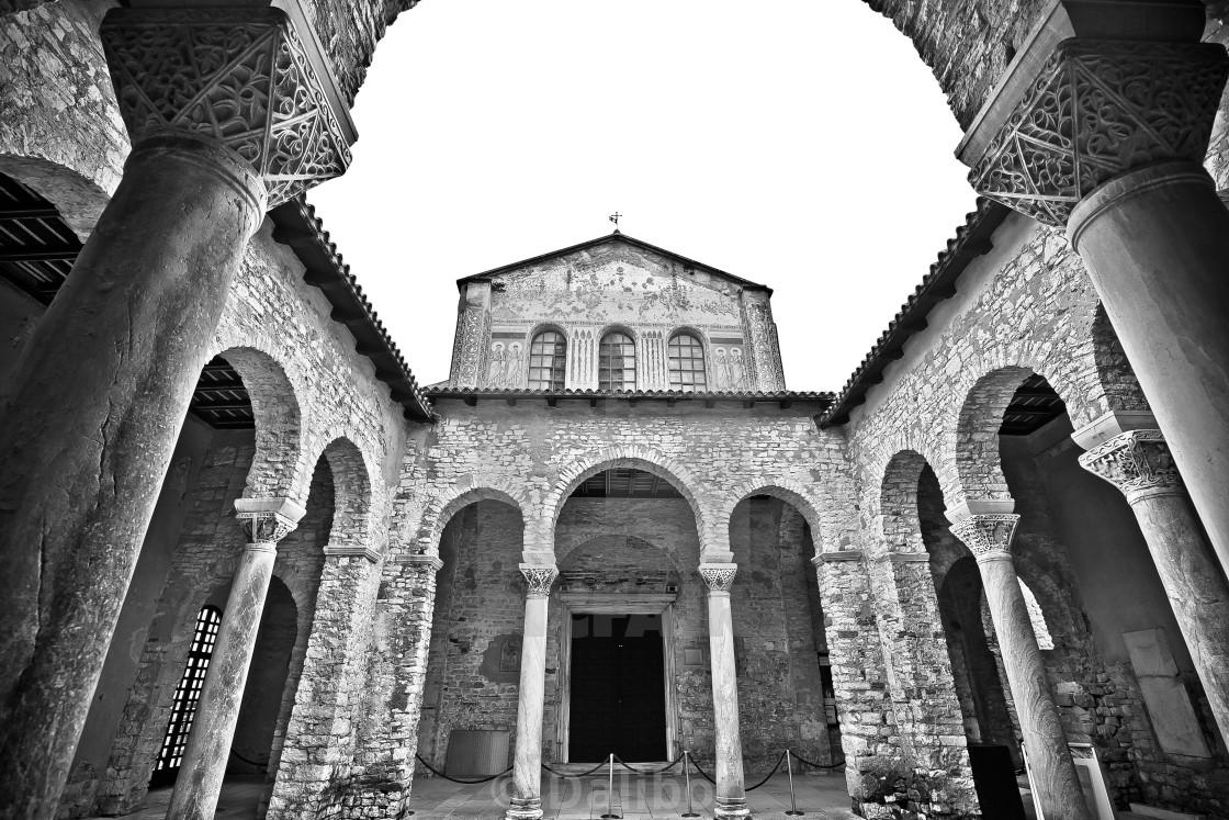 """Euphrasian Basilica in Porec arcades black and white view"" stock image"