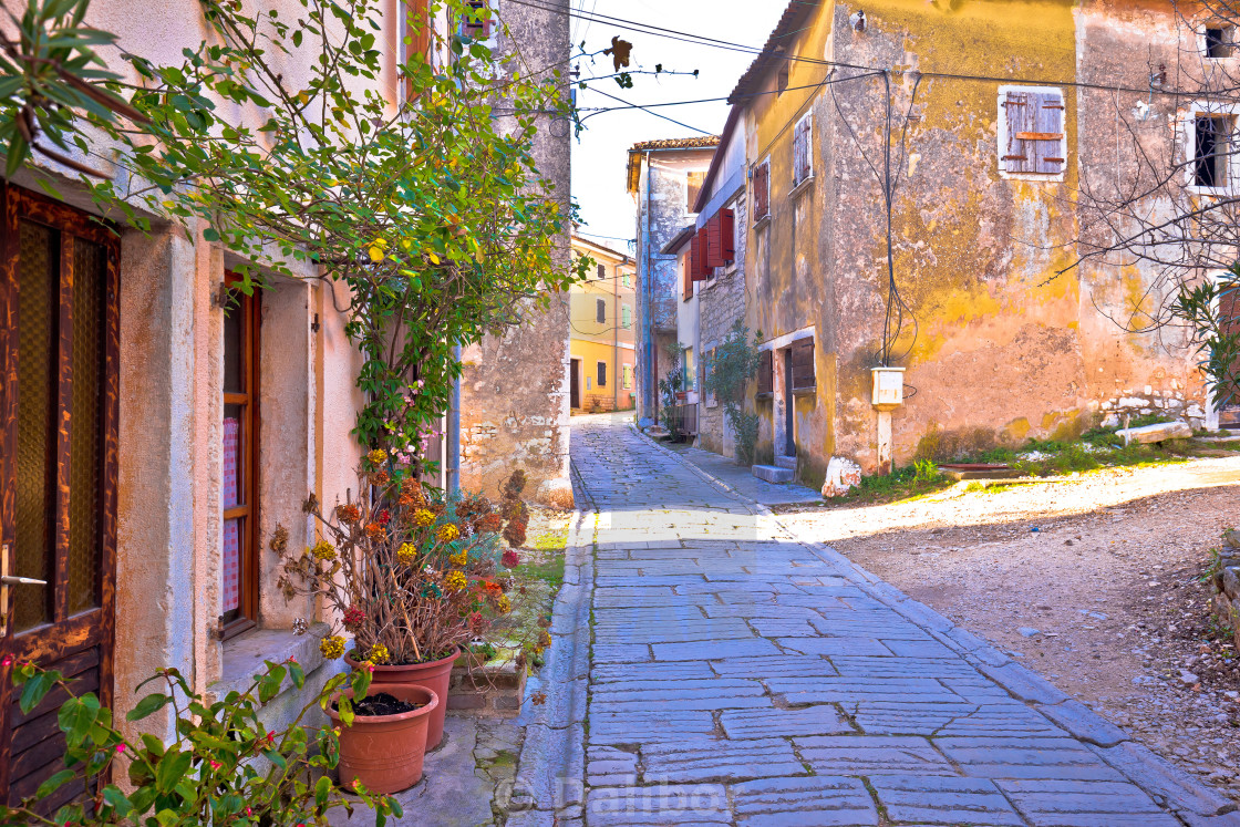 """Town of Visnjan cobbled alley view"" stock image"