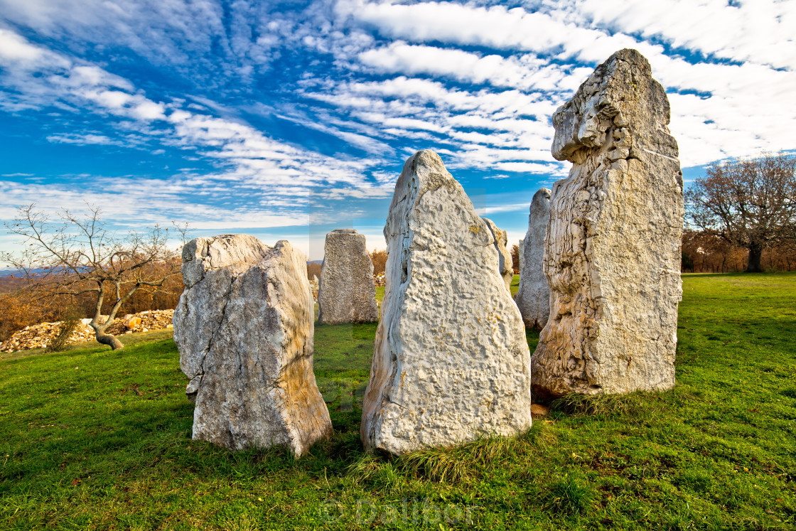 """Stone monuments in Tican village"" stock image"