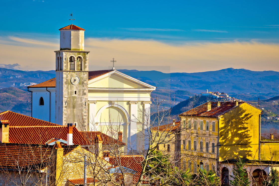 """Town of Vizinada church and skyline above istrian landscape view"" stock image"