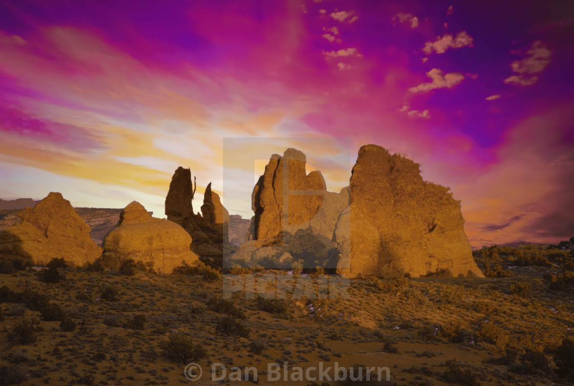 """Sunset Arches National Park Utah"" stock image"