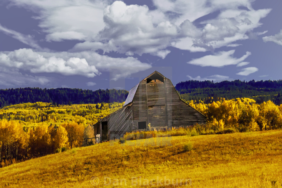 """An Old Battered Barn in Autumn Color"" stock image"