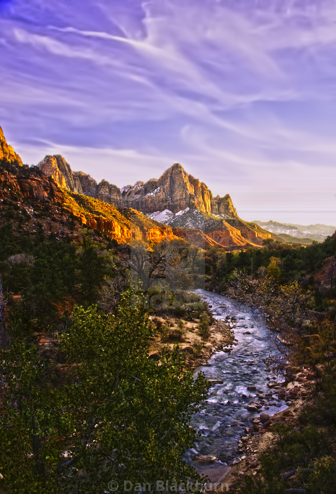 """""""Sunrise Lights The Watchman Rock Tower Above the River"""" stock image"""